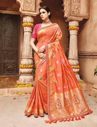 Silk wedding peach attractive saree