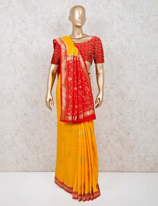 Silk wedding saree design in yellow