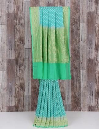 Silk wedding saree in sky blue color