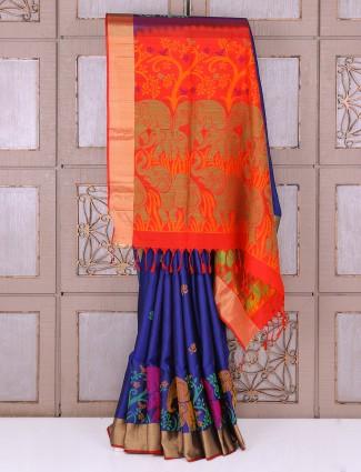 Silk wedding wear blue color saree