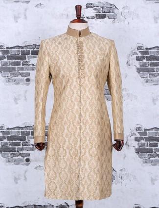 Silk wedding wear cream sherwani