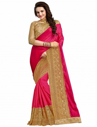 Silk wedding wear magenta awesome sari
