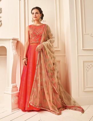 Silk wedding wear orange color anarkali suit