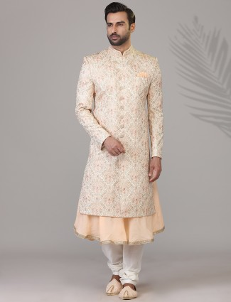 Silk wedding wear peach double layer sherwani