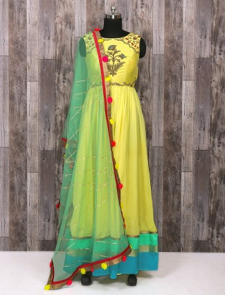 Silk wedding yellow color anarkali suit