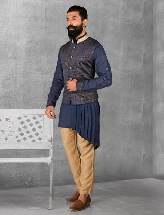 Silk weddingwear navy waistcoat set