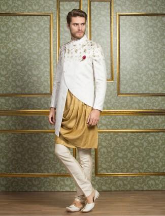 Silk white and mustard indo western