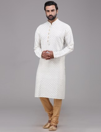 Silk white full sleeve printed kurta suit