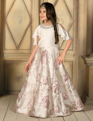 Silk white pink party wear gown