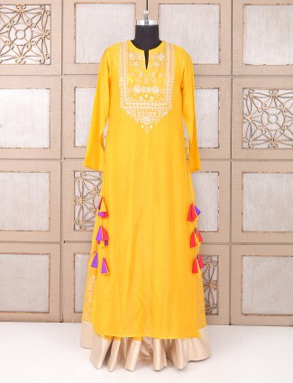 Silk yellow color indo western