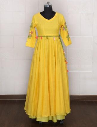 Silk yellow designer one piece suit