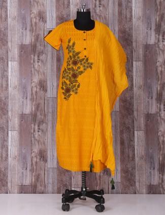 Silk yellow festive wear salwar suit