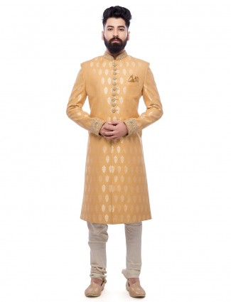 Silk yellow festive wear sherwani