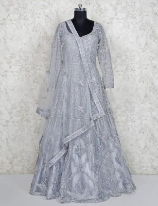 Silver hue net floor length anarkali salwar suit