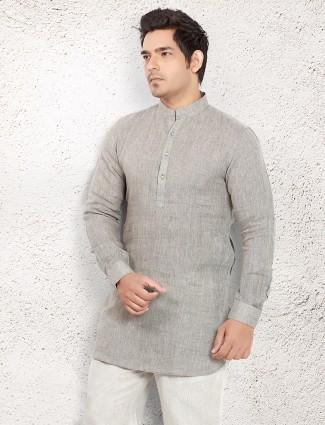 Silver linen plain short pathani