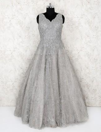 Silver net floor length beautiful gown