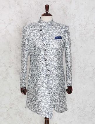 Silver printed raw silk indo western