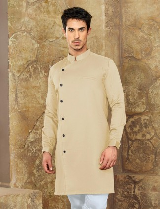 Simple beige hue cotton short pathani