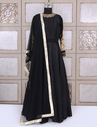 Simple black color silk fabric anarkali suit