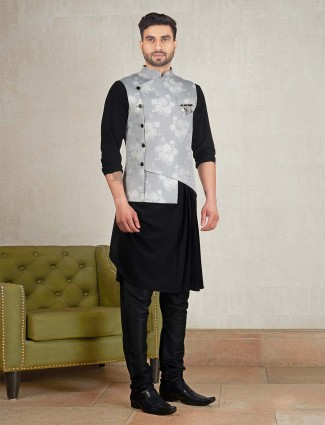 Simple black hue printed waistcoat set