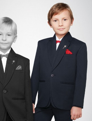 Simple black tuxedo suit for party function
