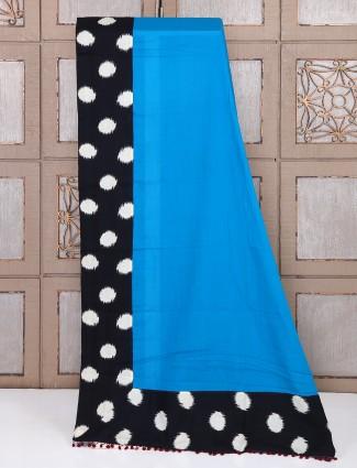 Simple blue color cotton fabric saree