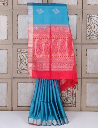 Simple blue color silk fabric saree