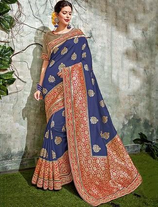 Simple blue hue semi silk saree