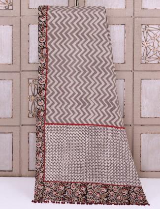 Simple brown color cotton festive wear saree