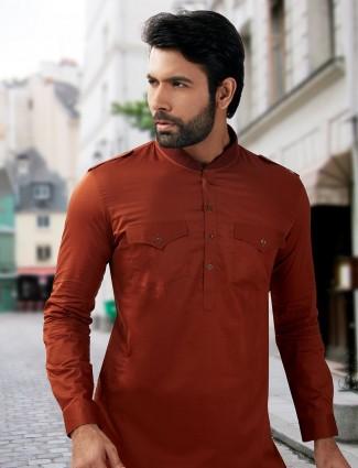 Simple cotton silk pathani suit in purple color