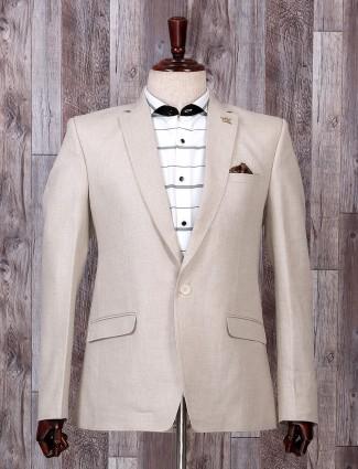 Simple cream color terry rayon blazer
