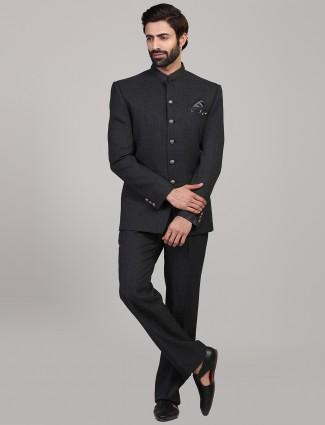Simple dark grey party wear jodhpuri suit