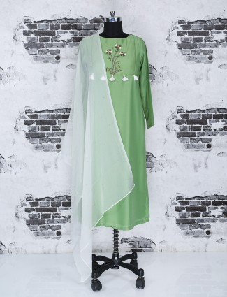 Simple green color cotton punjabi suit