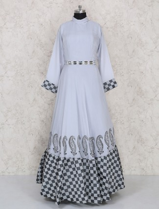 Simple grey color anarkali salwar kameez