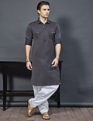 Simple grey color cotton pathani suit