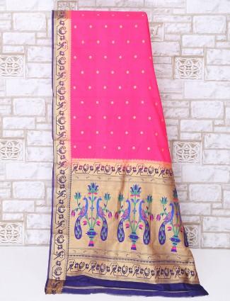 Simple magenta silk saree