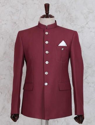 Simple maroon jodhpuri suit