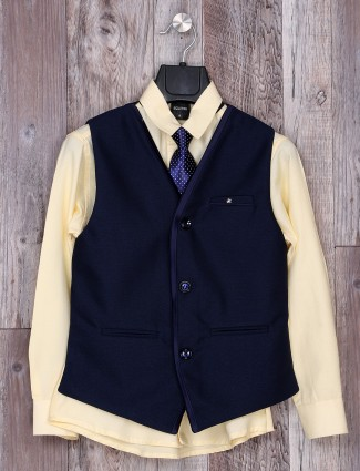 Simple navy and yellow festive wear waistcoat