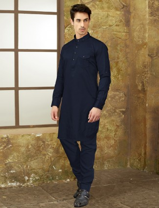 Simple navy hue cotton pathani suit