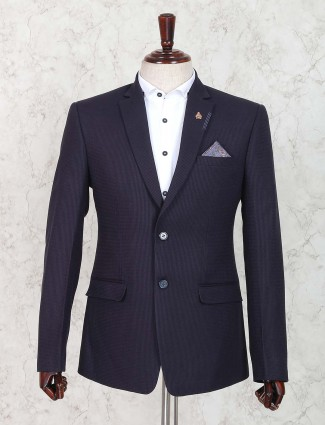Simple navy hue terry rayon fabric blazer