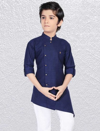 Simple navy party short kurta