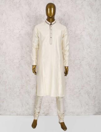 Simple off white wedding kurta suit