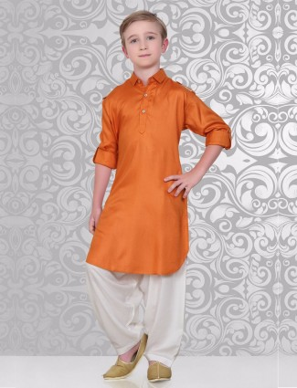 Simple orange festive wear pathani suit