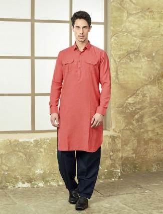 Simple pink color cotton pathani suit
