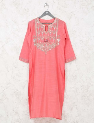 Simple pink cotton kurti