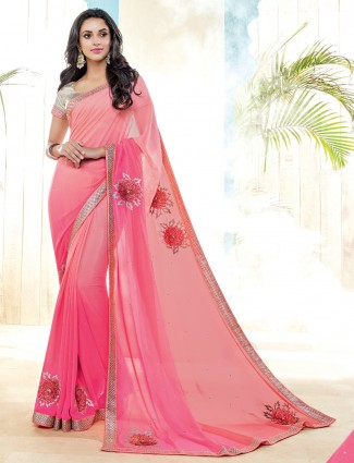 Simple pink georgette festive wear saree