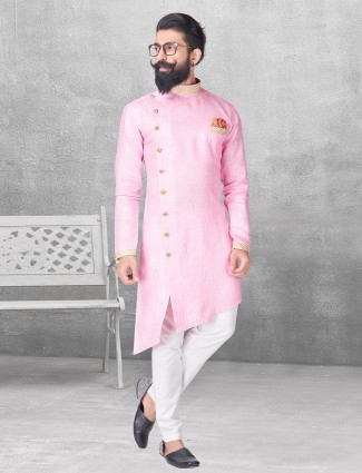 Simple pink silk kurta suit