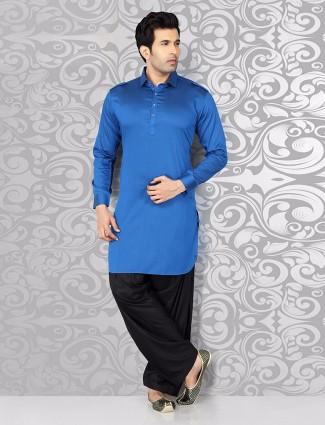 Simple plain blue cotton pathnai suit