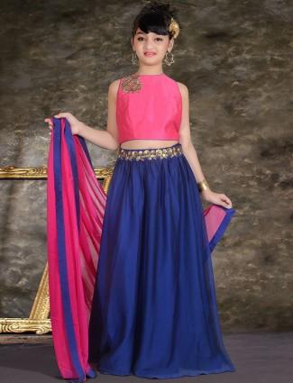Simple plain blue silk party wear lehenga choli