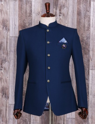 Simple plain blue terry rayon jodhpuri suit